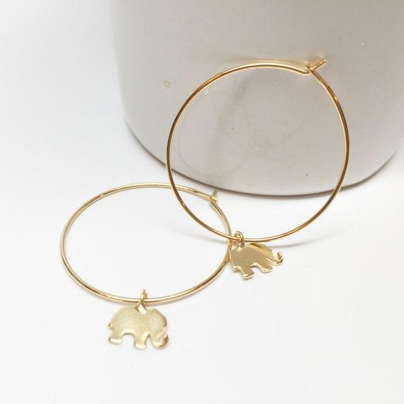 30mm elephant hoop earrings gold hoop earring cute elephant