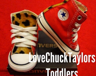 Red Leopard Converse Toddler Shoes