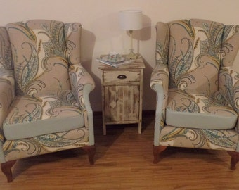 SOLD-Pair of custom upholstered wingback chairs arm chair accent chair living room furniture.