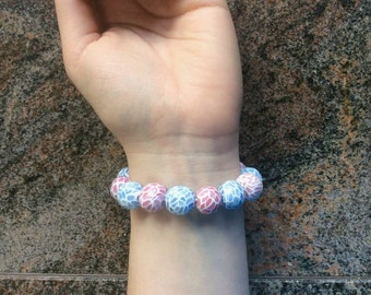 Mosaic bracelet in pastel red and blue