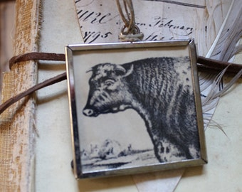 Framed Cow Head Pendant - Large