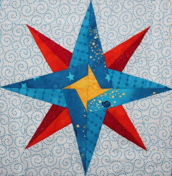 Mariner's star foundation paper pieced PDF quilt block pattern ... : nautical quilt blocks - Adamdwight.com