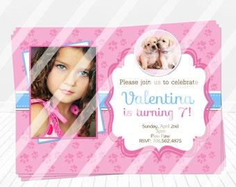 Puppy Birthday Invitations, Puppy Dog Digital Invitations, Puppy Birthday Party Supplies, Puppy Girl Party Invitations