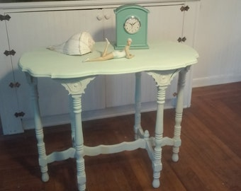 Vintage Beachy Chic Carved Table