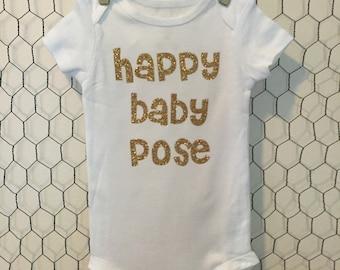 Happy Baby Pose Onesie Yoga Gold Glitter