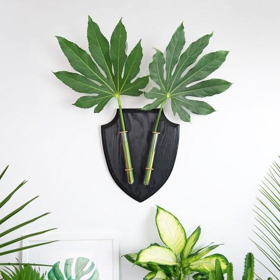 Wall Planter, Black Wall Vase, Wall Planter Deer Head, Deer Flower vase, Black Botanical Deer