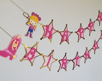 Pink Cowgirl Happy Birthday Banner, Western Rodeo Birthday Banner,  Pink and Gold Cow Girl Banner, Cow Girl Party Decorations