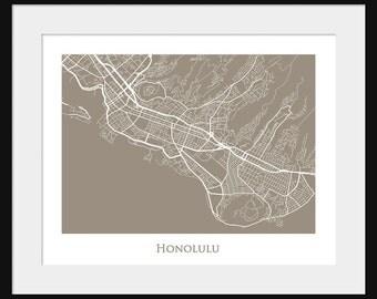 Honolulu Map - Hawaii  - Print - Poster - Line Map