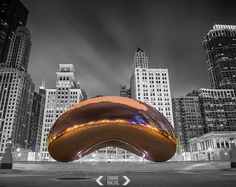 Chicago Bean Print, Chicago Fine Art Photography, Cloud Gate, Chicago Black And White Art, Chicago Poster, Wall Art, 8x10 8x12 11x14 12x16