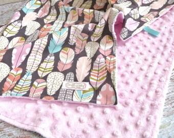 Tribal Minky Blanket - Bohemian Baby Blanket - Boho Minky Blanket - Boho Nursery Bedding - Boho Feather Blanket - Pink Feather Minky Blanket