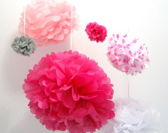 Baby shower party decorations paper pompoms in pink white grey for baby girl birthday party hanging decor 6 set tissue paper pompoms flowers