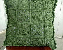 Green Crochet Cushion, Retro Crochet cushion,18 inch Crochet Cushion, nursery pillow, decorative crochet cushion, green decorative pillow