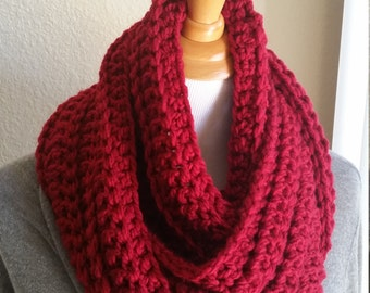 Red Bulky Infinity Cowl