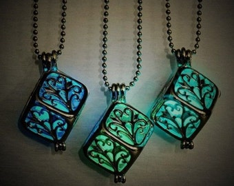 Glow In The Dark Silver Cage Pendant Necklace