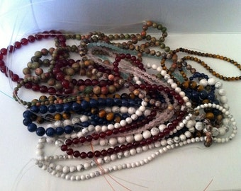 Assorted Gemstone 15 strings of Beads jewelery making necklace