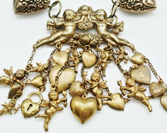 Cupid and Heart Charm Necklace