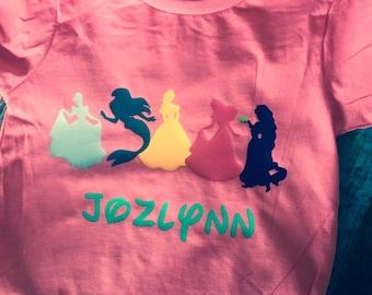 Princess Silhouette Birthday Shirt, Birthday Shirt, Personalized Shirt, Princess Shirt, Girls Personalized Shirt, Princess, Birthday