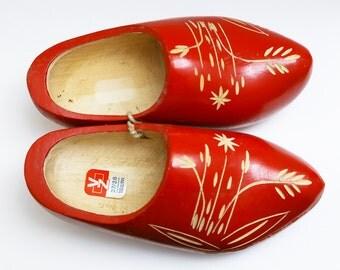 BIG SALE. Dutch shoes / Dutch Clog / Dutch Wooden shoes / Wooden red clogs / Holland home decor / Wooden red shoes / Holland souvenir
