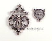 Rosary Crucifix and Center Set Holy Spirit Medal With Mary Magdalene Crucifix | Italian Rosary Parts