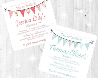 Shabby Chic Bunting Design Christening/Baptism Invites - Printed with Envelopes - Pink Blue - Boy Girl - Personalised Stationery Invitations