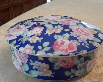 Vintage Andrea by Sadek Japanese Famille Moire Blue Pink Rose Covered Round Bowl asian decor oriental decor, home decor, covered decorative