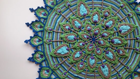 Overlay Crochet Peacock Feather Mandala Pattern Crocheted