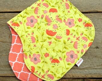 Baby burp cloth, pink flowers