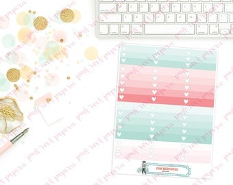 Pink & Mint Geo Collection - Full and Half Box Ombre Planner Stickers for Erin Condren Life Planners