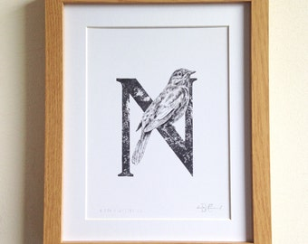 N for Nightingale Print - A5
