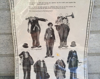 Charlie Chaplin Paper doll and costumes, 1985 Charlie Chaplin paper dolls, Merrimack Paper dolls