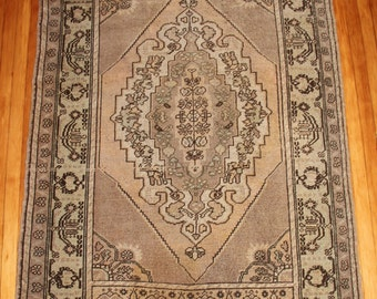 US SELLER - 4'6x7 Turkish vintage rug distressed retro antique worn authentic imported 100% wool area rug 7x4 OOAK 4x7 5x7 7x5