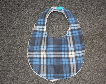 Baby Bib-Blue Plaid-Terry Cloth-Button Closure