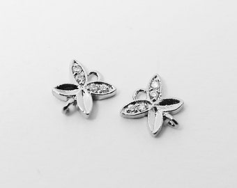 P0404/Anti-tarnished Rhodium Plating Over Brass/Cubic Zirconia Petal Connector/8x8mm/2pcs