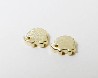 P0399/Anti-tarnished Gold Plating Over Brass/Mini Hedgehog Charms/7x 5.5mm/2pcs