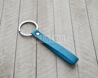 Blue Skinny Minimalist Leather Keychain - Silver Accented Leather Key Chain - Slim Leather Keychain