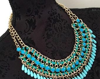 Gold tone tribal statement beaded boho bib necklace chain link