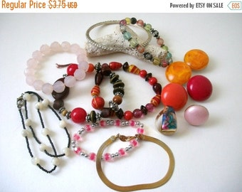 ON SALE Destash Craft Lot O f Nice Vintage And Salvaged Colorful Tones Jewelry Parts And Pieces 61416