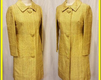 Beautiful Yellow & Brown Dupionni Silk Dress and Matching Coat ~ Custom Made ~ Don't Miss This One