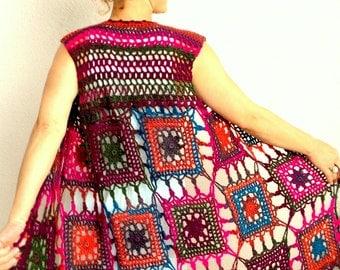 Crochet vest, long vest, boho vest, hippie vest, bohemian vest, motif vest, sleeveless vest, multicolor vest, fast shipping, READY TO SHİP