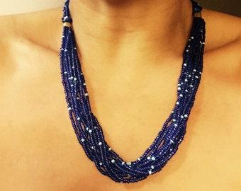 Kinda Blue - hand strung necklace from Zimbabwe