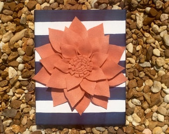 Navy and coral felt flower canvas