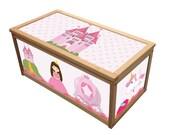 Princess Toy Box Wooden Toybox  Chest Box