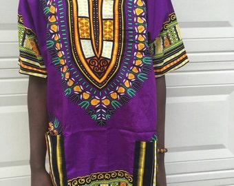 Men Handmade purple Dashiki Caftan Shirt Tribal African Top