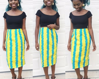 African ankara print women  Pencil Knee Length Skirt. African fabric. African straight skirt clothing