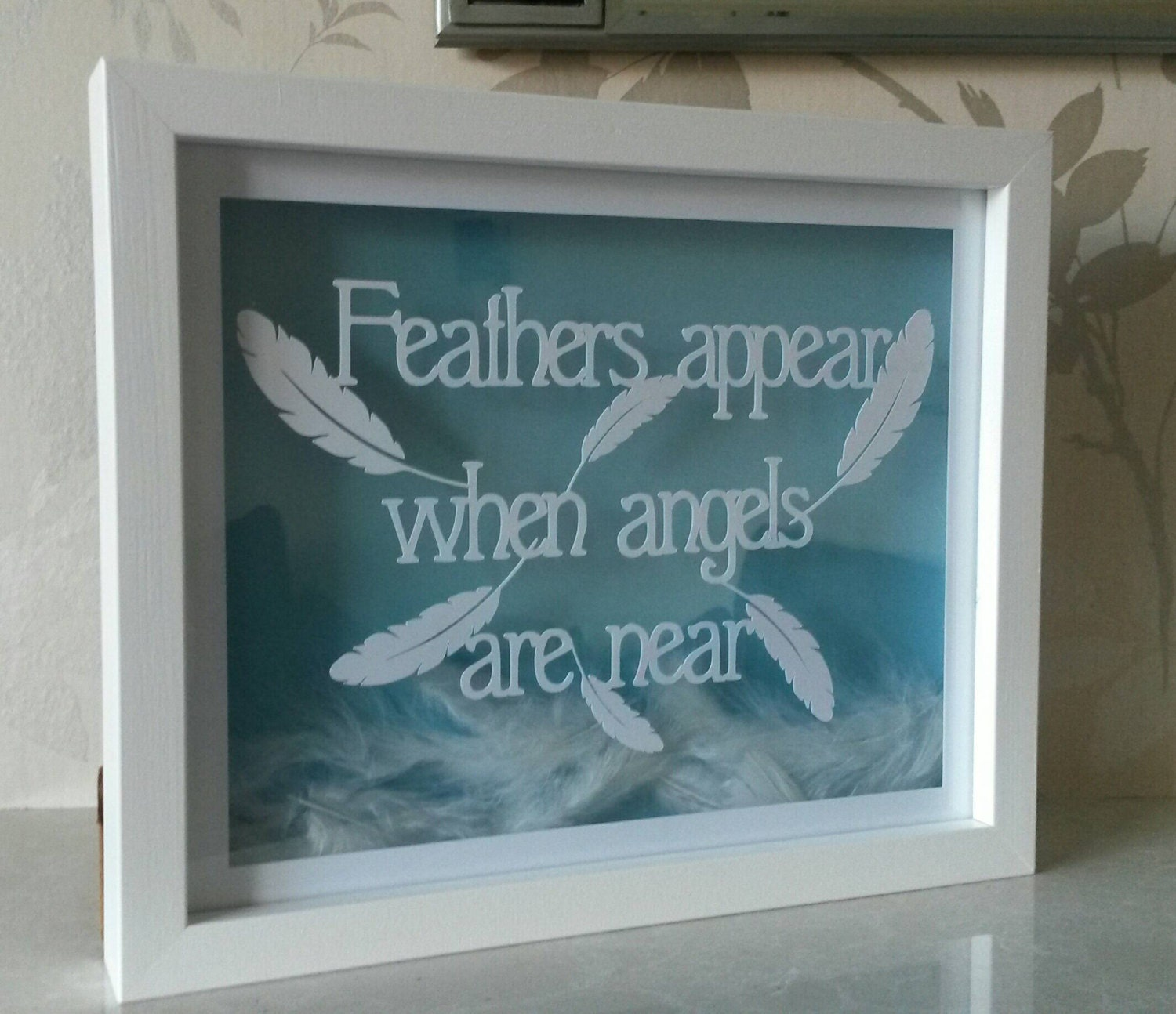 feathers appear when angels are near paper cut gift box frame white feathers remembrance gift lost loved ones angels in loving memory