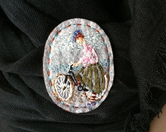 """Embroidered """"Cyclist"""" Felt brooch hand made"""