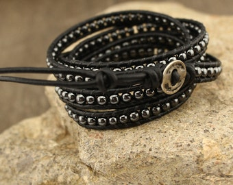 Multi strand hematite bracelet,leather bracelet,vintage bracelet,black leather bracelet,fashion bracelet,natural beads bracelet,WYJ-B104