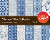 Vintage Tiles Blue Digital Papers 12pcs 300dpi Instant Download Scrapbooking Printable Paper