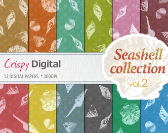 Sea Shell Digital Papers Vol. 2 12pcs 300dpi Digital Download Scrapbooking Printable Paper Sea Shell Collage