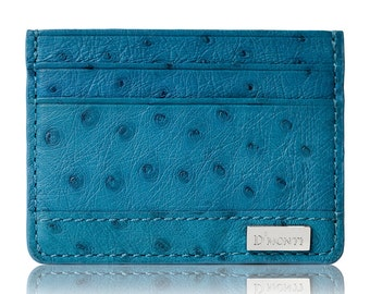 D'Monti Coral Blue Christmas Gift Ideas - France Luxury Genuine Real Ostrich Leather Mens Womens Unisex Credit Card Holder Slim Wallet
